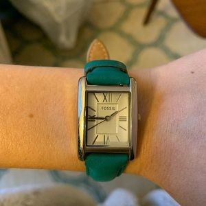Women's fossil watch with leather teal band